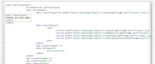 Adding Advertisement code