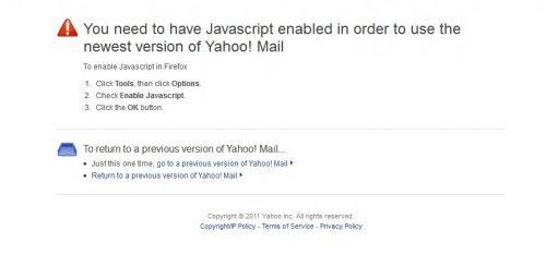 Yahoo Mail Javascript error