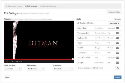 YouTube photo slideshow editor