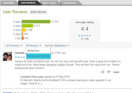 Filter app reviews google play