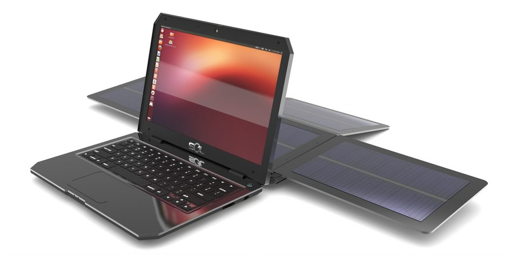sol laptop with solar panels