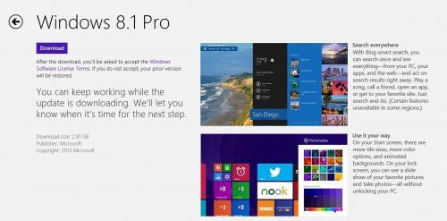Update to 8.1 - Windows Store