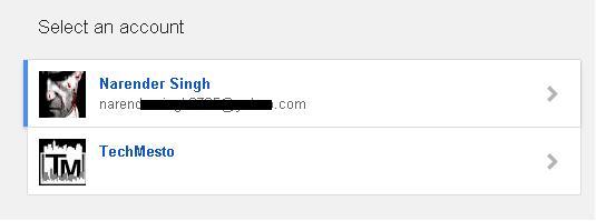google select account screen