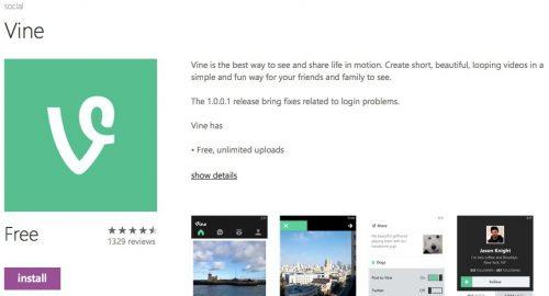 windowsphone store vine page
