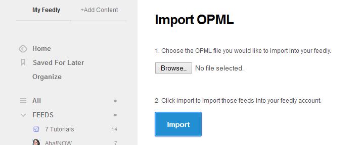 feedly import opml nextgen