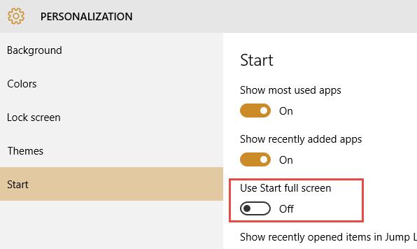 Use Start Full Screen Windows 10