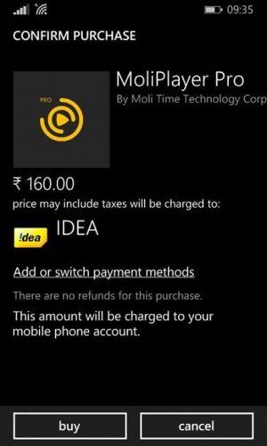idea opertor billing windows phone