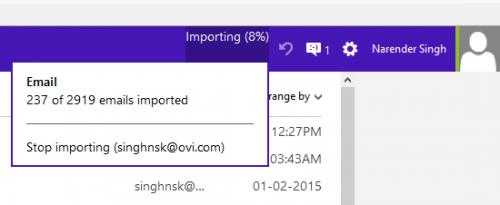 importing progress