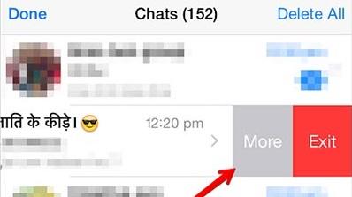 iPhone WhatsApp swipe left