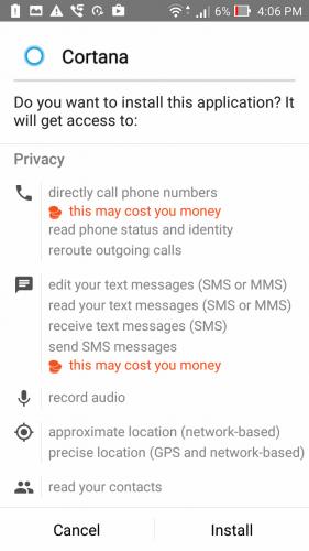 Cortana APK permissions