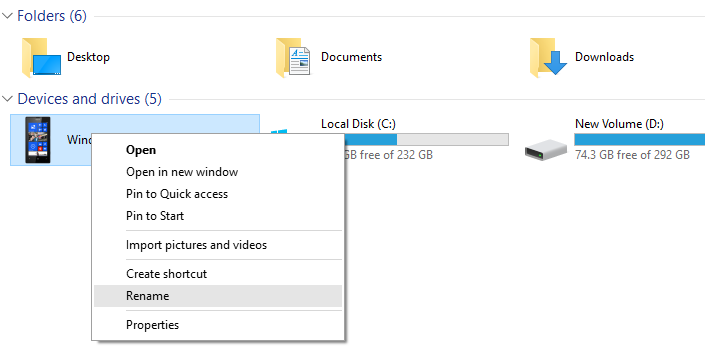 Rename Windows 10 Mobile using PC