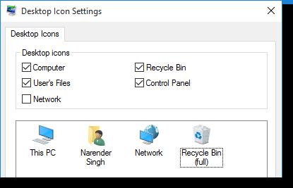 desktop icon settings windows10