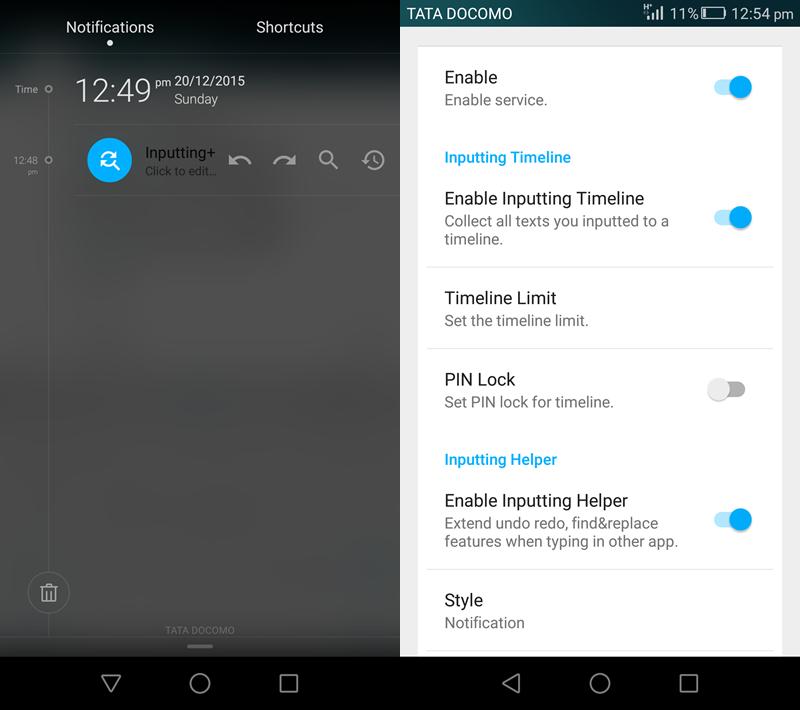 Inputting + Android Undo Redo