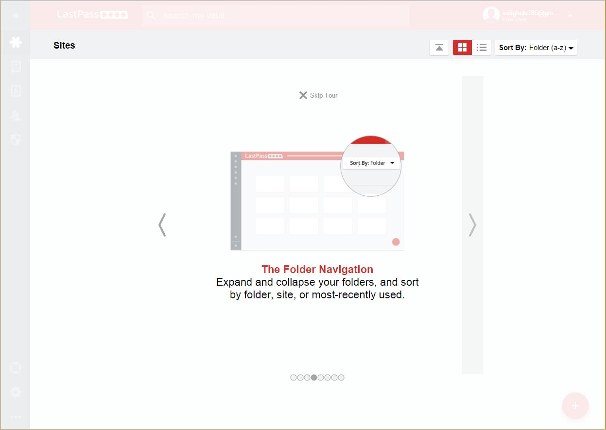 LastPass Folder navigation Menu