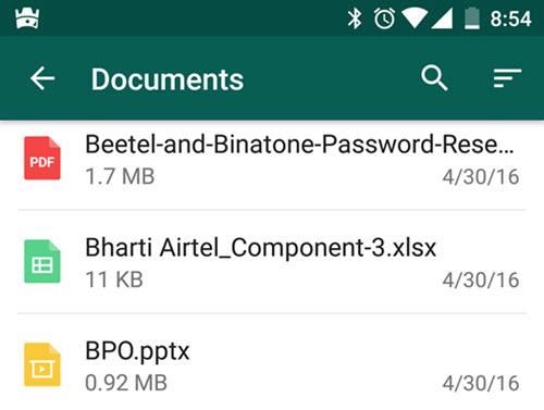 WhatsApp choose documents