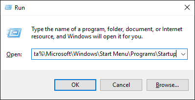 Windows Run open startup folder
