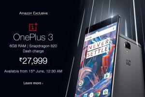 OnePlus 3 Amazon.in Price promo