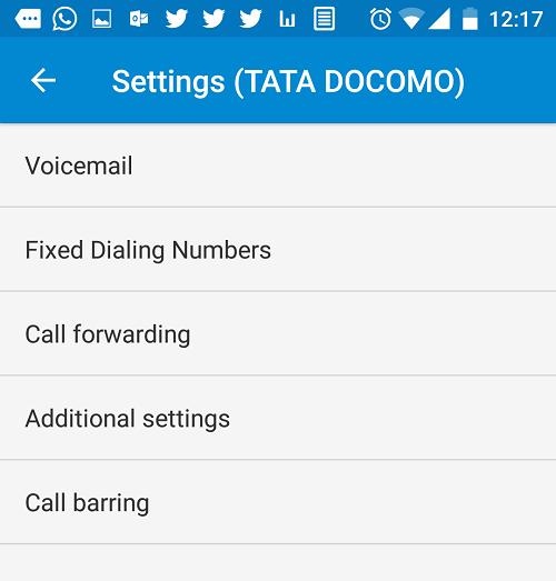 calling accounts sim settings