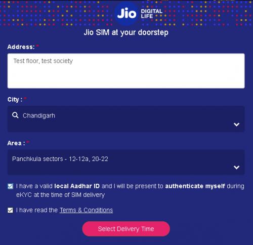 Address & City Jio SIM
