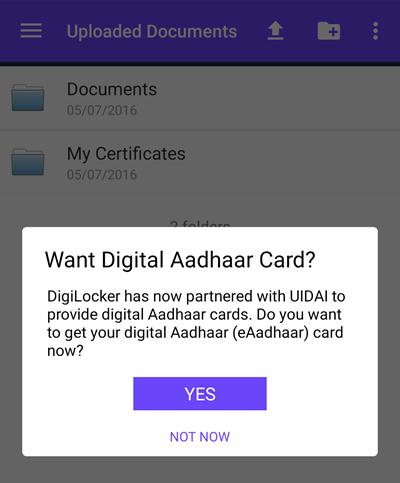 Digital Aadhar DigiLocker App