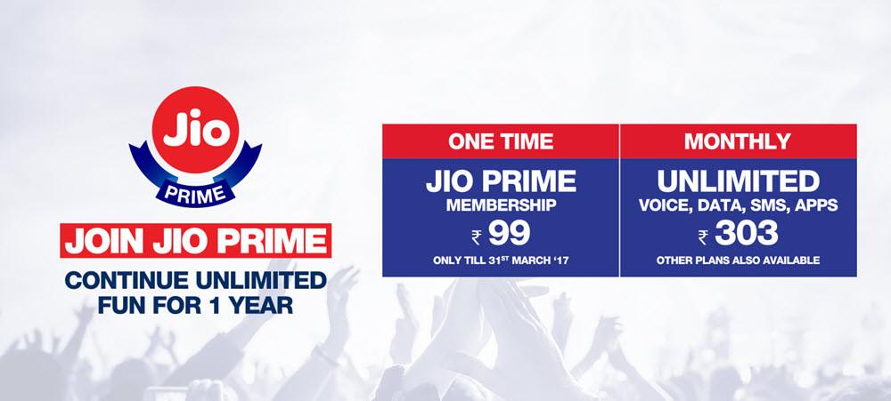 Jio Prime 99 303 1 year unlimited fun