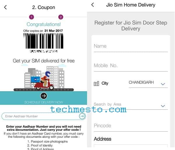 My Jio App SIM Delivery