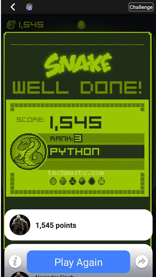 Snake Facebook Score Python