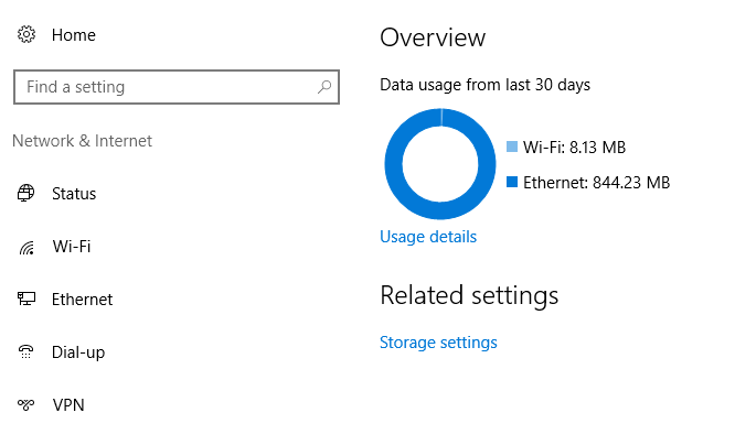 Windows 10 data usage overview wifi and ethernet
