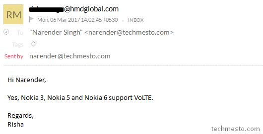 Nokia 6, Nokia 5, Nokia 3 support VoLTE