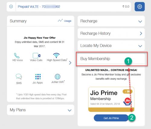 Activate Jio Prime at Jio.com