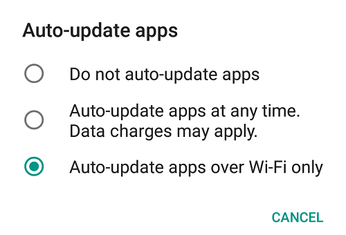 auto-update apps settings