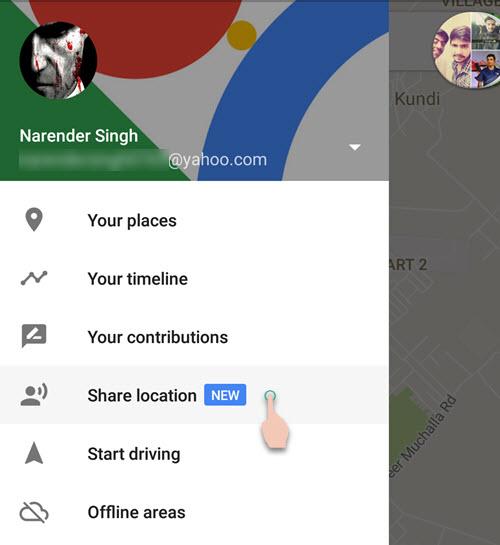 Share Location option Google Maps