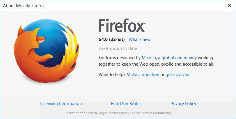About Screen of Firefox 54 32 bit