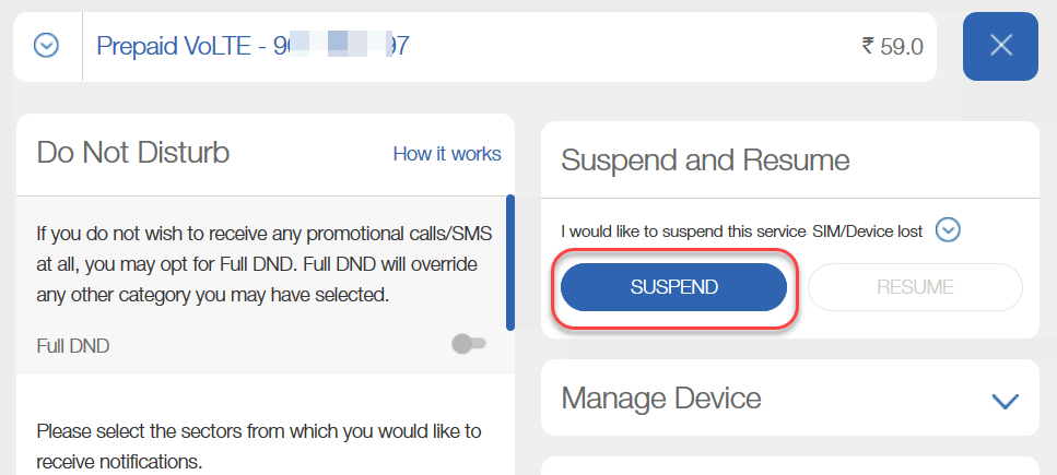 Suspend Block Jio SIM Service