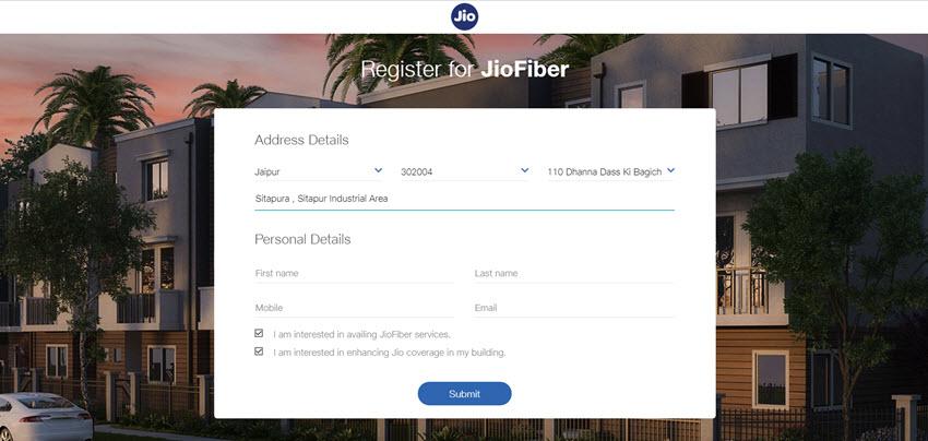 Register interest in Jio Fiber Services
