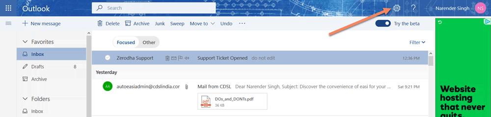 Outlook.com Settings Icon