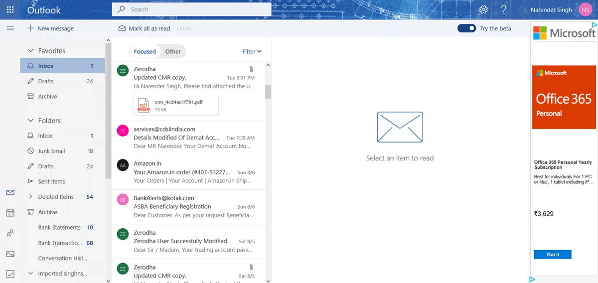 Outlook.com Beta 2017